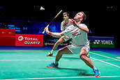 17th March 2018, Arena Birmingham, Birmingham, England; Yonex All England Open Badminton Championships; Mads Conrad-Petersen (DEN) and Mads Pieler Kolding (DEN) in their semi-final match against MarcusFernaldi Gideon (INA) and Kevin Sanjaya Sukamuljo (INA)