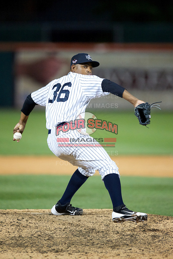 Empire State Yankees pitcher Juan Cedeno #36 during the Triple-A All-Star game featuring the Pacific Coast League and International League top players at Coca-Cola Field on July 11, 2012 in Buffalo, New York.  PCL defeated the IL 3-0.  (Mike Janes/Four Seam Images)