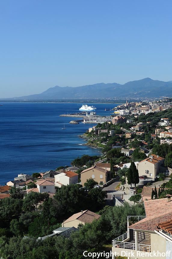 Blick auf Bastia vom Cap Corse, Korsika, Frankreich