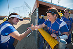 Western Nevada's Kacie Freudenberger (23), left,  and Britni Greninger (22) get ready for a second game against Salt Lake Community College in Carson City, Nev. on Saturday, March 7, 2015. Western Nevada was defeated in the first game by Salt Lake Community College 11-2. <br />