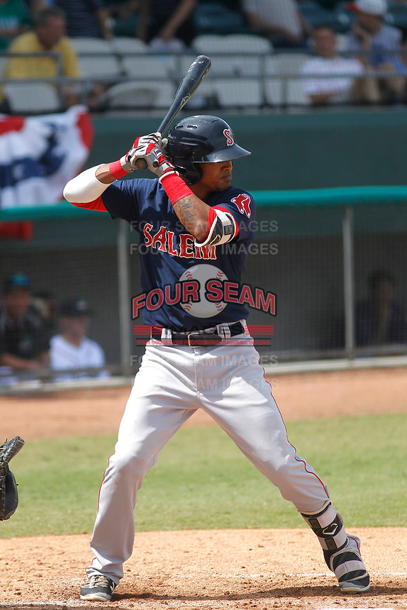 Salem Red Sox short stops Deiner Lopez (5) at bat during a game against the Down East Wood Ducks  at Grainger Stadium on April 16, 2017 in Kinston, North Carolina. Salem defeated Down East 9-2. (Robert Gurganus/Four Seam Images)