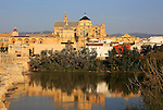 River Rio Guadalquivir and historic Mezquita cathedral buildings, Great Mosque, Cordoba, Spain