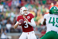 STANFORD, CA - SEPTEMBER 21: K.J. Costello #3 of the Stanford Cardinal looks for a pass receiver during a game between University of Oregon and Stanford Football at Stanford Stadium on September 21, 2019 in Stanford, California.