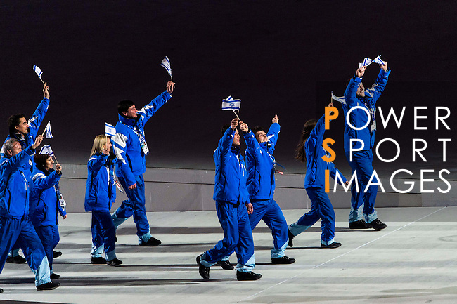 Olympic team of Israel during the parade of nations at the Opening ceremony of the 2014 Sochi Olympic Winter Games at Fisht Olympic Stadium on February 7, 2014 in Sochi, Russia. Photo by Victor Fraile / Power Sport Images