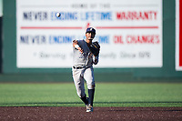 Tri-City Dust Devils shortstop Kelvin Alarcon (1) throws to first base during a Northwest League game against the Everett AquaSox at Everett Memorial Stadium on September 3, 2018 in Everett, Washington. The Everett AquaSox defeated the Tri-City Dust Devils by a score of 8-3. (Zachary Lucy/Four Seam Images)