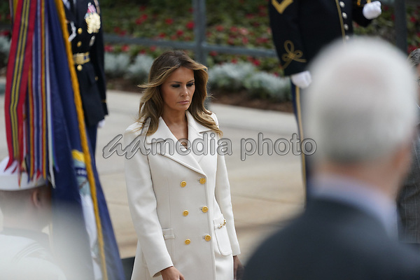 First lady Melania Trump accompanied by United States President Donald J. Trump and US Vice President Mike Pence commemorates Memorial Day by participating in a Wreath Laying ceremony at Arlington National Cemetery in Arlington, Virginia on Monday, May 25, 2020.<br /> Credit: Chris Kleponis / Pool via CNP/AdMedia