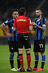 Lautaro Martinez and Marcelo Brozovic of Inter discuss with referee Gianpaolo Calvarese during the Coppa Italia match at Giuseppe Meazza, Milan. Picture date: 12th February 2020. Picture credit should read: Jonathan Moscrop/Sportimage