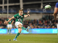 9th November 2013; Paddy Jackson, Ireland, converts a try scored by Dave Kearney. Autumn International Series, Ireland v Samoa, Aviva Stadium, Dublin. Picture credit: Tommy Grealy/actionshots.ie.