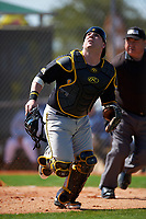 Iowa Hawkeyes catcher Jimmy Frankos (16) during a game against the Dartmouth Big Green on February 27, 2016 at South Charlotte Regional Park in Punta Gorda, Florida.  Iowa defeated Dartmouth 4-1.  (Mike Janes/Four Seam Images)