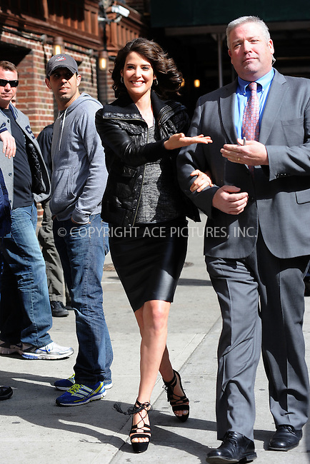 WWW.ACEPIXS.COM . . . . . .April 9, 2012...New York City....Cobie Smulders tapes an appearance on the Late Show with David Letterman on April 9, 2012  in New York City....Please byline: KRISTIN CALLAHAN - ACEPIXS.COM.. . . . . . ..Ace Pictures, Inc: ..tel: (212) 243 8787 or (646) 769 0430..e-mail: info@acepixs.com..web: http://www.acepixs.com .