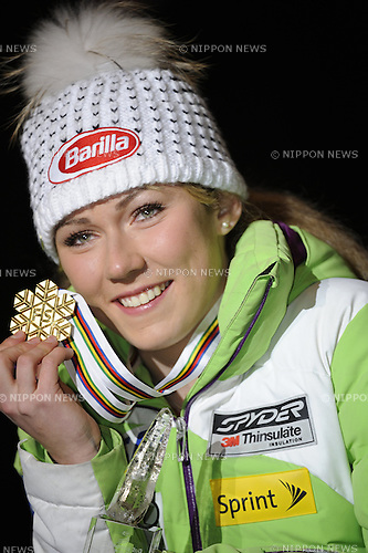 Mikaela Shiffrin (USA),.FEBRUARY 16, 2013 - Alpine Skiing :.Mikaela Shiffrin of the United States poses with her gold medal during the Women's Slalom medal ceremony at Medal Plaza on day twelve of the FIS Alpine World Ski Championships 2013 in Schladming, Austria. (Photo by Hiroyuki Sato/AFLO)