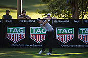 9th February 2018, Lake Karrinyup Country Club, Karrinyup, Australia; ISPS HANDA World Super 6 Perth golf, second round; Danny Willett (ENG) tees off