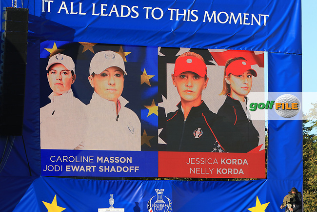 The 3rd pairings for the morning foursomes during the Opening Ceremony of the Solheim Cup 2019 at Gleneagles Golf CLub, Auchterarder, Perthshire, Scotland. 12/09/2019.<br /> Picture Thos Caffrey / Golffile.ie<br /> <br /> All photo usage must carry mandatory copyright credit (© Golffile | Thos Caffrey)