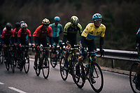 yellow jersey / GC leader Luis Leon Sanchez (ESP/Astana) has trouble keeping the wheel in the last ascent towards the finish<br /> <br /> 76th Paris-Nice 2018<br /> Stage 7: Nice > Valdeblore La Colmiane (175km)
