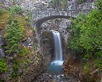 Mount Rainier National Park,  WA  <br /> Christine Falls and stone bridge in fog