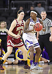 SIOUX FALLS, SD: MARCH 4: Jasmine Patrick #21 of Western Illinois backs into defender Jesse Spittel #31 of Denver on March 4, 2017 during the Summit League Basketball Championship at the Denny Sanford Premier Center in Sioux Falls, SD. (Photo by Dick Carlson/Inertia)