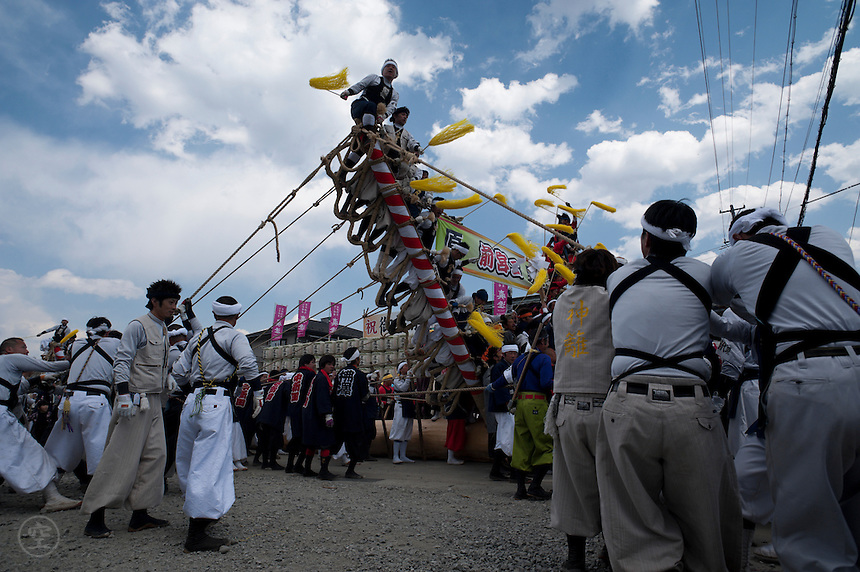 Satobiki, where the the sacred pillars are brought into the shrine, during the Onbashira festival, where 16 sacred pillars are brought by hand to rejuvenate each the upper and lower Suwa Shrines in Nagano Prefecture.