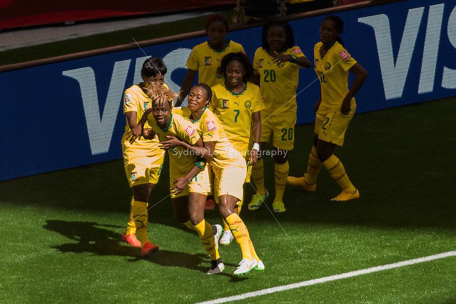 June 8, 2015: Gaelle ENGANAMOUIT of Cameroon celebrates her goal during a Group C match at the FIFA Women's World Cup Canada 2015 between Cameroon and Ecuador at BC Place Stadium on 8 June 2015 in Vancouver, Canada. Sydney Low/AsteriskImages
