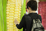 A man takes a picture of a column displaying a giant corn in the Tokyo Metro passageway in Shinjuku on September 1, 2015, Tokyo, Japan. The Central Union of Agricultural Co-operatives (JA-ZENCHU) is promoting Japanese vegetables with the vegetable columns and a massive 80 meter ''Wall Farmer's Market'' information poster until September 6th. (Photo by Rodrigo Reyes Marin/AFLO)