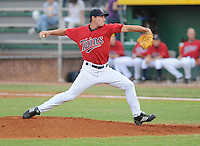Pitcher Tim Atherton (37) of the Elizabethton Twins, Appalachian League affiliate of the Minnesota Twins, in a game against the Bristol White Sox on August 18, 2011, at Joe O'Brien Field in Elizabethton, Tennessee. Elizabethton defeated Bristol, 13-3. (Tom Priddy/Four Seam Images)