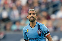 FOXBOROUGH, MA - SEPTEMBER 29: Maximiliano Moralez #10 of New York City FC during a game between New York City FC and New England Revolution at Gillette Stadium on September 29, 2019 in Foxborough, Massachusetts.