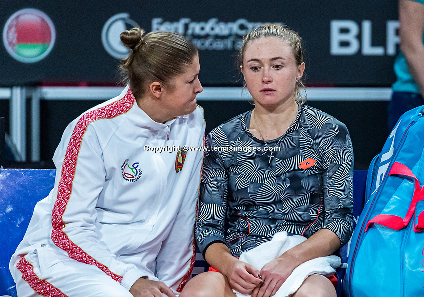The Hague, The Netherlands, Februari 7, 2020,    Sportcampus, FedCup  Netherlands -  Balarus,  Aliaksandra Sasnovich is disapointed after loosing her match<br /> Photo: Tennisimages/Henk Koster