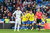 Sergio Ramos of Real Madrid reacts after Pedro Tanausu Tana of UD Las Palmas celebrates after scoring a goal  during the match of Spanish La Liga between Real Madrid and UD Las Palmas at  Santiago Bernabeu Stadium in Madrid, Spain. March 01, 2017. (ALTERPHOTOS / Rodrigo Jimenez) /NortePhoto.com