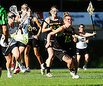 BERLIN, GERMANY - JUNE 22: Semifinal between Team Germany (black) vs LCC Radotin (white) during the Berlin Open Lacrosse Tournament 2013 at Stadion Lichterfelde on June 22, 2013 in Berlin, Germany. Final score 9-8. (Photo by Dirk Markgraf/www.265-images.com) *** Local caption *** #19 Emily Patterson of Germany, #43 Pia Balz of Germany
