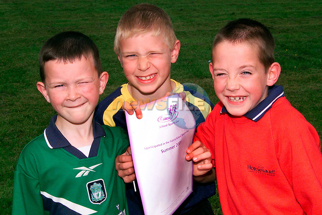 Dylan McGrath, 3rd, Conor Grimes, 1st and Dean Russell, 2nd in the 1st class boys race at Tullyallen Sports Day which was sponsered by Siucra...Pictured are the pupils from Tullyallen National School, one of the many schools selected to take part in the Suicra Schools Sports Day initiative. the first of it's kind nationwide, the Siucra School Soprts Day initiative saw Siucra organise and sponser the annual sports day in 1800 national schools nationwide and involving 250,000 pupils. Pupils received stickers, certificates, exercise sheets, sugessted games and finishing lines as part of the initiative..Picture: Paul Mohan/Newsfile..PICTURED SUPPLIED BY NEWSFILE LTD. ON BEHALF OF EDELMAN PR..NO REPRODUCTION FEE