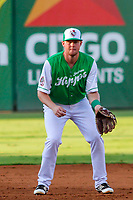 Jackson Generals third baseman Marty Herum (27) during a Southern League game against the Biloxi Shuckers on July 27, 2018 at The Ballpark at Jackson in Jackson, Tennessee. Biloxi defeated Jackson 15-7. (Brad Krause/Four Seam Images)