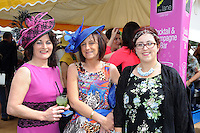 Pictured enjoying the summer fayre on the Ross Hotel / Lane Bar Champagne &amp; Cocktail Marquee at Killarney Races ladies Day on Thursday were from left, Chris Siochru, Kenmare, Anne and Rebecca O'Sullivan, Glengarriffe.<br /> Picture by Don MacMonagle<br /> <br /> <br /> PR Photo from Ross Hotel