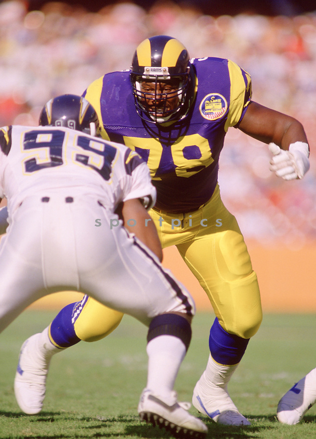 Los Angeles Rams Jackie Slater (78)  during a game against the San Diego Chargers on November 20, 1988<br /> at Anaheim Stadium in Anaheim, California.  The San Diego Chargers beat the Los Angeles Rams 38-24. Jackie Slater played for 20 years all with the Rams. He was a 7-time Pro Bowler and was inducted to the Pro Football Hall of Fame in 2001.(SportPics)