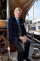 Mikael Krafft, founder and president of Star Clippers, poses for the photographer aboard his yacht Doriana, Hercules port, Monaco, 19th April 2012