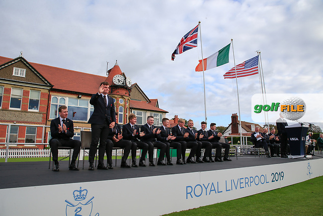 James Sugrue (GB&I) is introduced during the opening ceremony at the Walker Cup, Royal Liverpool Golf CLub, Hoylake, Cheshire, England. 06/09/2019.<br /> Picture Fran Caffrey / Golffile.ie<br /> <br /> All photo usage must carry mandatory copyright credit (© Golffile | Fran Caffrey)