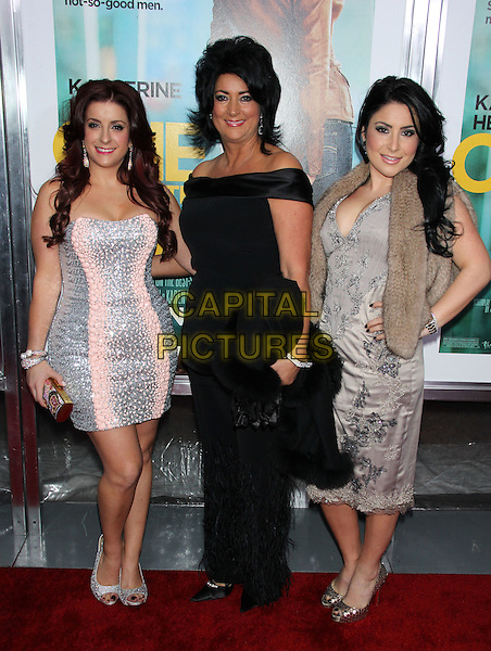 "Christina Scali, Diane Scali and Kimberly Gambale ('Jersey Couture').The New York Premiere of ""One For The Money"" held at the AMC Loews Lincoln Square Cinemas, New York, NY, USA..January 24th, 2012.full length silver pink black grey gray strapless dress off the shoulder print.CAP/LNC/TOM.©LNC/Capital Pictures."