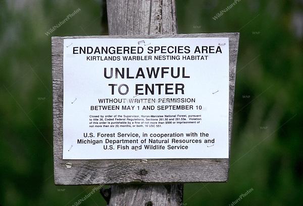 Kirtland's Warbler Habitat, Posted: Endangered Species; Michigan