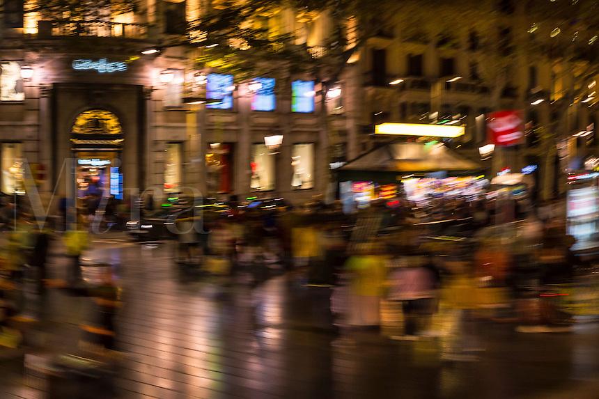 Busy street scene near the Placa de Catalunya, Barcelona, Spain
