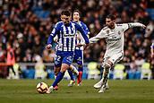 3rd February 2019, Santiago Bernabeu, Madrid, Spain; La Liga football, Real Madrid versus Alaves; Jonathan Calleri (Deportivo Alaves)  goes around the challenge from Sergio Ramos