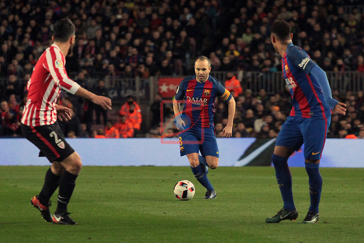Copa del Rey 2016/2017 - 1/8 final vuelta.<br /> FC Barcelona vs Athletic Club: 3-1.<br /> Boveda, Andres Iniesta &amp; Neymar Jr.