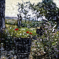 A Tuscan farm family repurposes a used wine keg for their garden of geraniums. Flowers have meaning to everyone.<br />