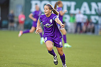 Portland, Oregon - Sunday April 17, 2016: Orlando Pride midfielder/defender Maddy Evans (18). The Portland Thorns play the Orlando Pride during a regular season NWSL match at Providence Park.