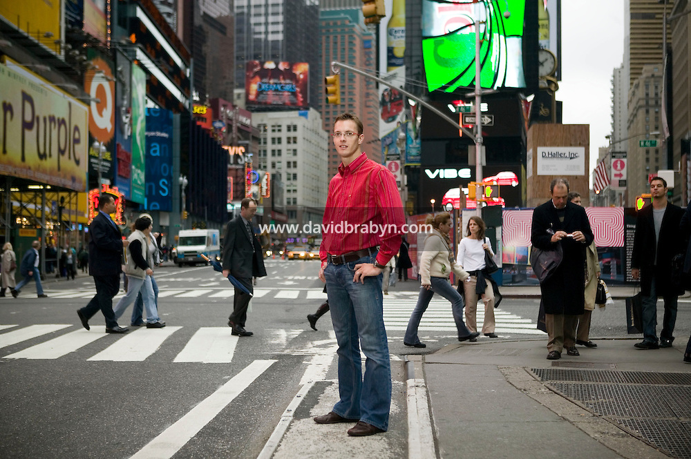 16 November 2006 - New York City, NY - French racing driver Sebastien Bourdais poses for an outdoor portrait session on Times Square in New York City, USA, 16 November 2006.