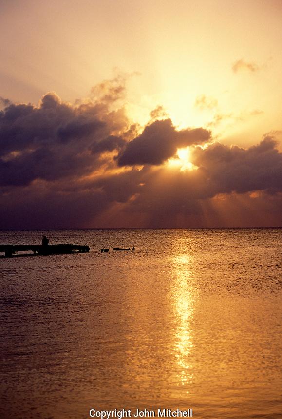 Tropical sunset on Caye Caulker, Belize