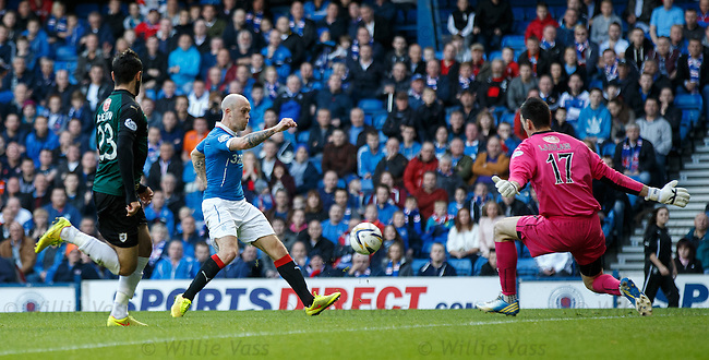 Nicky Law scores the second goal for Rangers