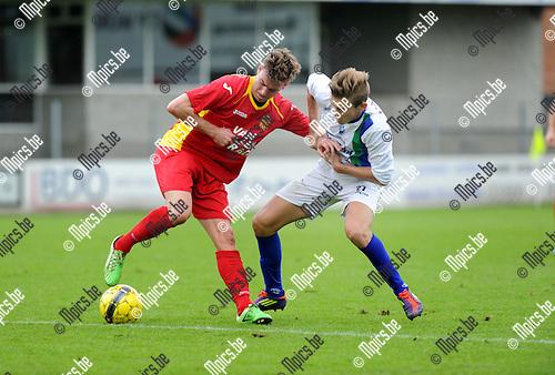 2013-09-22 / Voetbal / seizoen 2013-2014 / Kapellen - La Louvi&egrave;re / Ben Van den Brandt (l. Kapellen) met Gregory Griseze<br /><br />Foto: Mpics.be