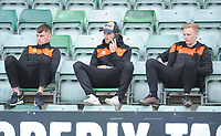 Blackpool's Paudie O'Connor (left) and Callum Guy (right) take their seats in the away stand<br /> <br /> Photographer Kevin Barnes/CameraSport<br /> <br /> The EFL Sky Bet League One - Plymouth Argyle v Blackpool - Saturday 15th September 2018 - Home Park - Plymouth<br /> <br /> World Copyright &copy; 2018 CameraSport. All rights reserved. 43 Linden Ave. Countesthorpe. Leicester. England. LE8 5PG - Tel: +44 (0) 116 277 4147 - admin@camerasport.com - www.camerasport.com