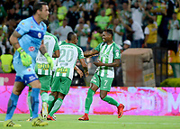 MEDELLÍN - COLOMBIA, 17-03-2018: Gustavo Torres (Der) de Atlético Nacional celebra después de anotar un gol a Deportivo Pasto durante partido por la fecha 9 de la Liga Águila I 2018 jugado en el estadio Atanasio Girardot de la ciudad de Medellín. / Gustavo Torres (R) payer of Atletico Nacional celebrates after scoring a goal to Deportivo Pasto during match for the date 9 of the Aguila League I 2018 at Atanasio Girardot stadium in Medellin city. Photo: VizzorImage/León Monsalve/Cont