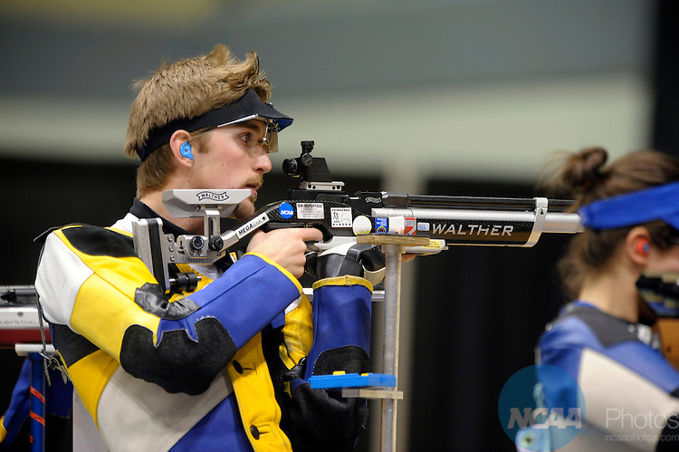 15 MAR 2008: Patrick Sartz (left) of Alaska Fairbanks competes in the third relay of the air rifle competition during the Division I Men's and Women's Rifle Championship held at the Holleder center inside of Christl Arena on the Campus of United States Military Academy at West Point in West Point, NY. Sartz won the competition with a total score of 594 points. Stephen Nowland/NCAA Photos