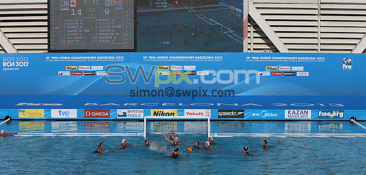 PICTURE BY VAUGHN RIDLEY/SWPIX.COM - Water Polo - 15th FINA World Championships 2013 - Great Britain v Canada - Bernat Picornell Swimming Pool, Barcelona, Spain - 21/07/13 - GV, General View.