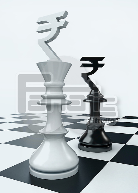 Conceptual shot of currency symbol on chess pieces